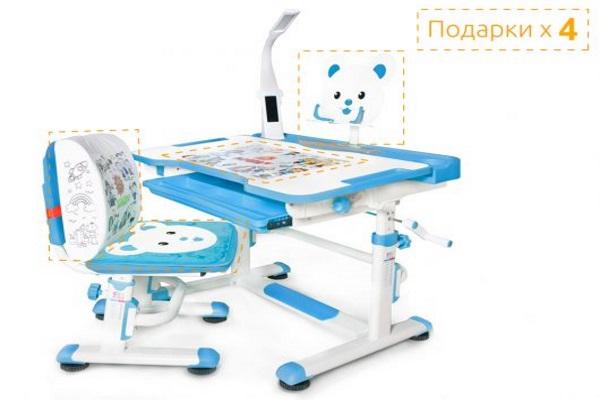 Комплект парта и стульчик Mealux BD-04 New XL Teddy (с лампой) купить в салоне-студии мебели Барселона mnogospalen.ru много спален мебель Италии классические современные